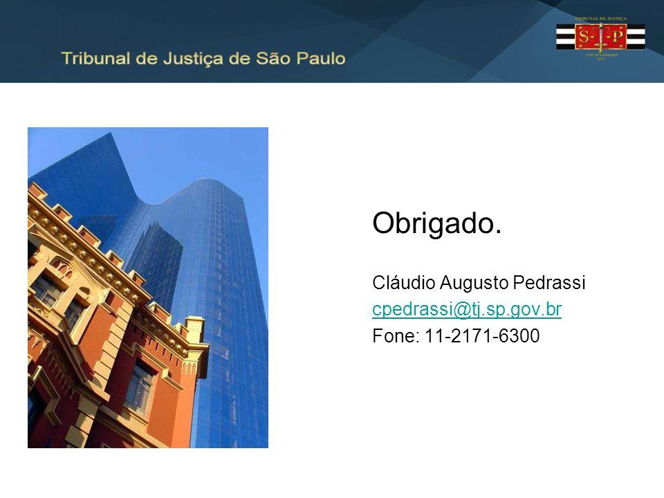 Obrigado. Cláudio Augusto Pedrassi cpedrassi@tj.sp.gov.br