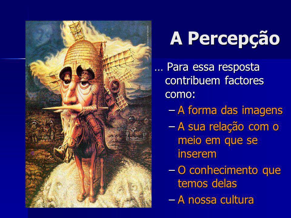 A Percepção … Para essa resposta contribuem factores como: