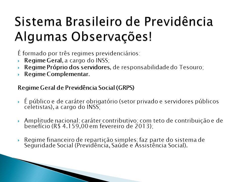 Sistema Brasileiro de Previdência Algumas Observações!