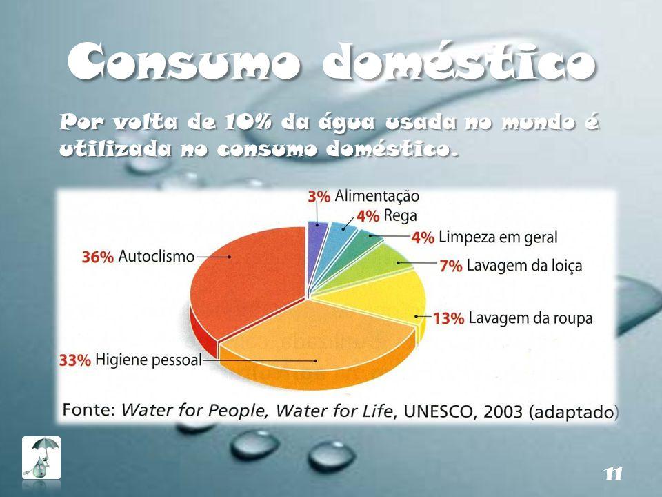 Consumo doméstico Por volta de 10% da água usada no mundo é utilizada no consumo doméstico.