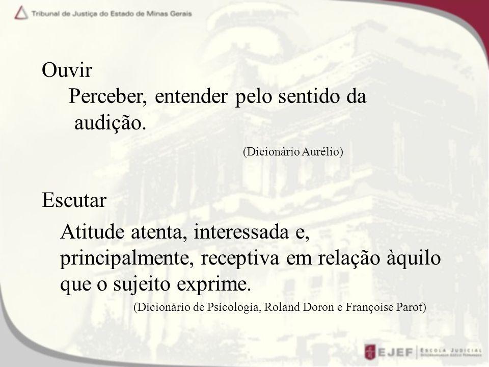 Ouvir Perceber, entender pelo sentido da audição. (Dicionário Aurélio)