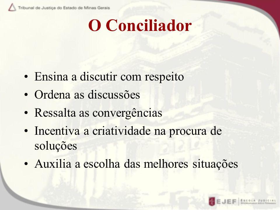 O Conciliador Ensina a discutir com respeito Ordena as discussões