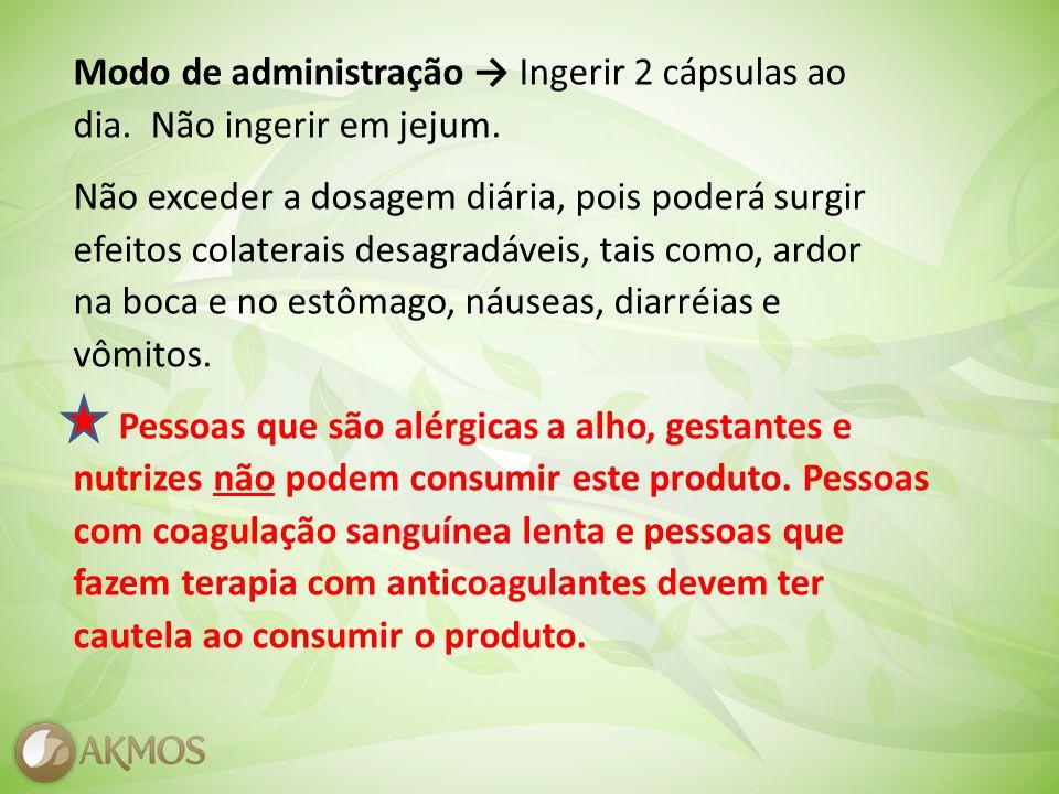 Modo de administração → Ingerir 2 cápsulas ao dia.