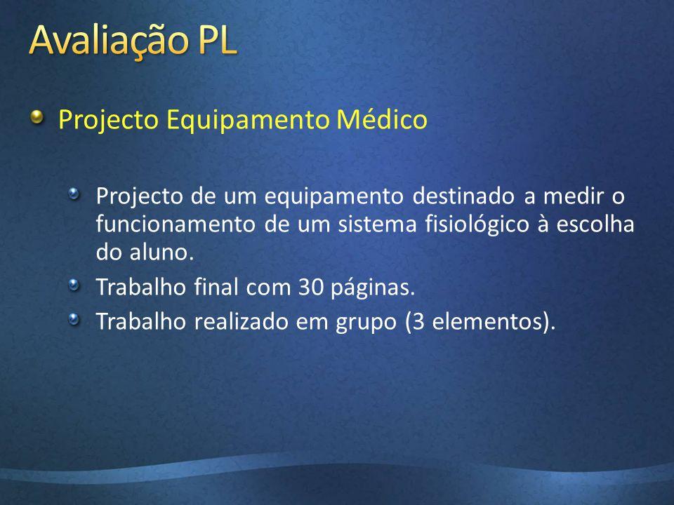 Avaliação PL Projecto Equipamento Médico