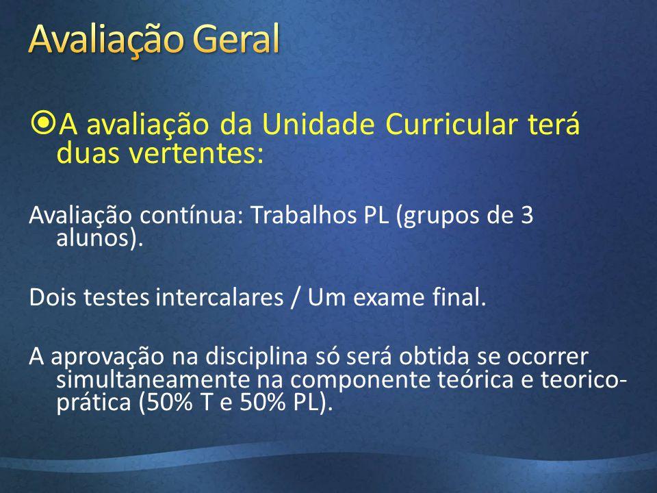 Avaliação Geral A avaliação da Unidade Curricular terá duas vertentes: