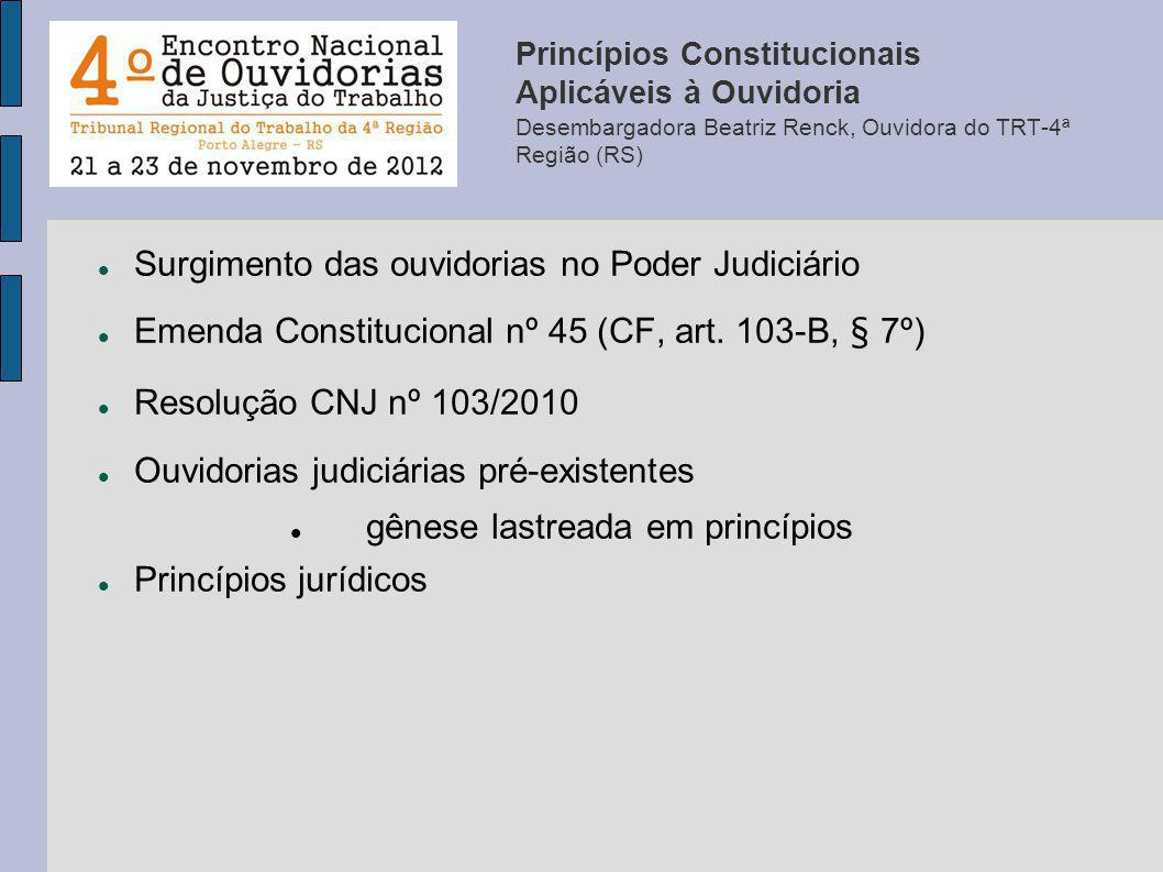 Surgimento das ouvidorias no Poder Judiciário