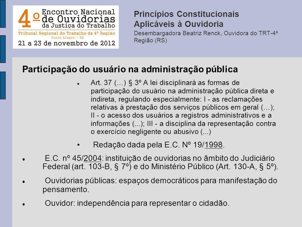 Participação do usuário na administração pública