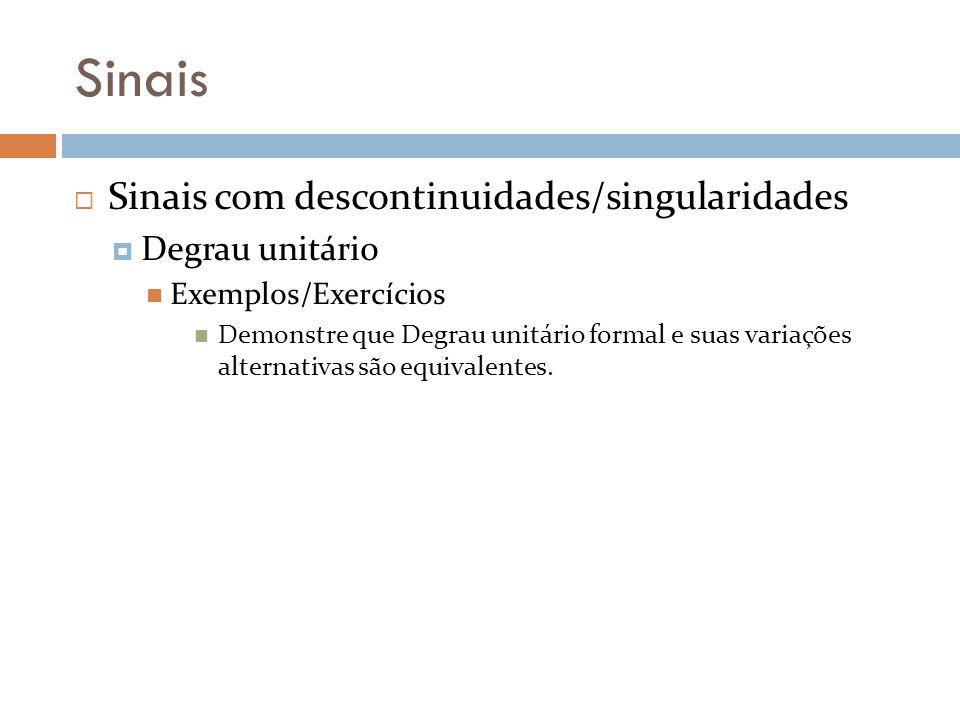 Sinais Sinais com descontinuidades/singularidades Degrau unitário