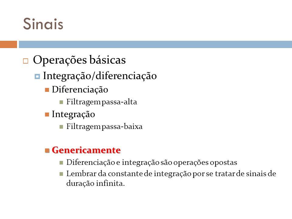 Sinais Operações básicas Integração/diferenciação Diferenciação