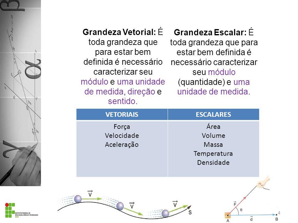 caracterizar seu módulo e uma unidade de medida, direção e sentido.