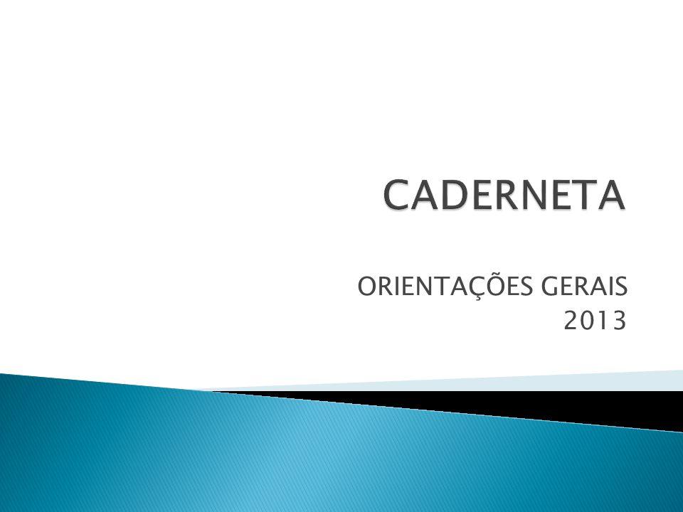 CADERNETA ORIENTAÇÕES GERAIS 2013