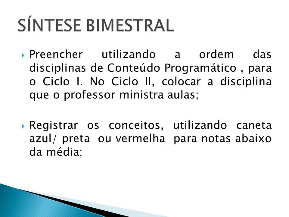 SÍNTESE BIMESTRAL