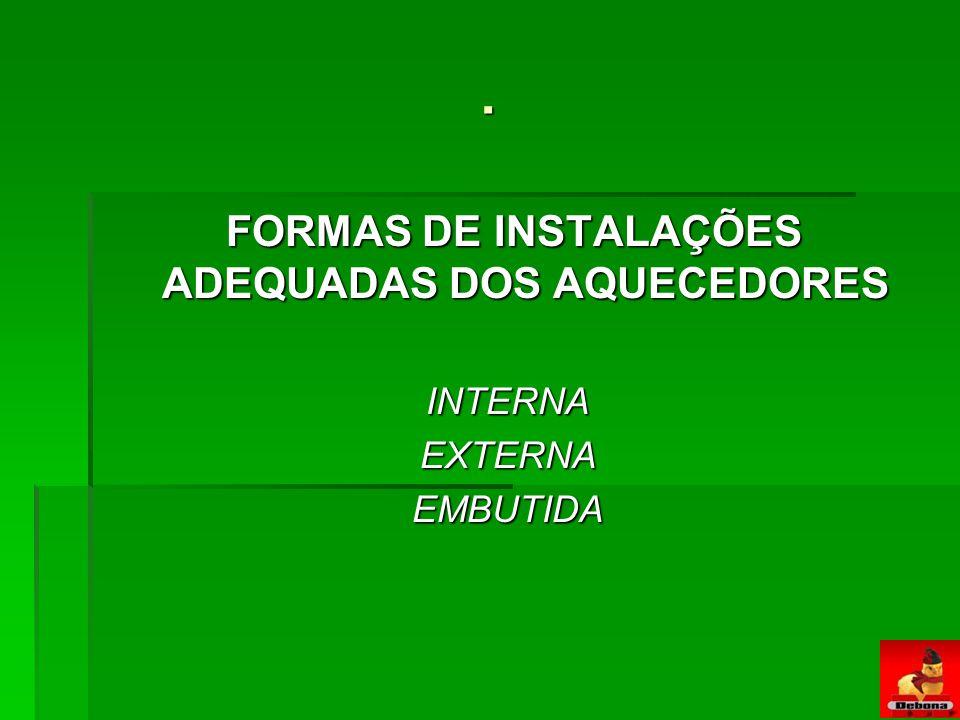 FORMAS DE INSTALAÇÕES ADEQUADAS DOS AQUECEDORES