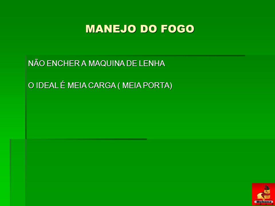 MANEJO DO FOGO NÃO ENCHER A MAQUINA DE LENHA