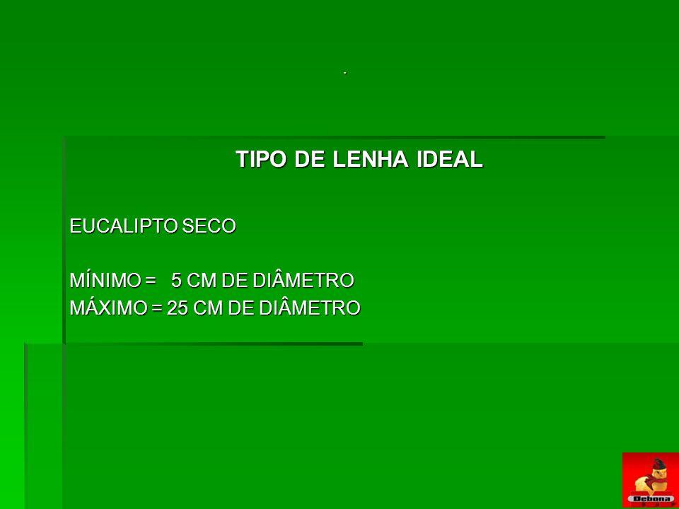 TIPO DE LENHA IDEAL EUCALIPTO SECO MÍNIMO = 5 CM DE DIÂMETRO