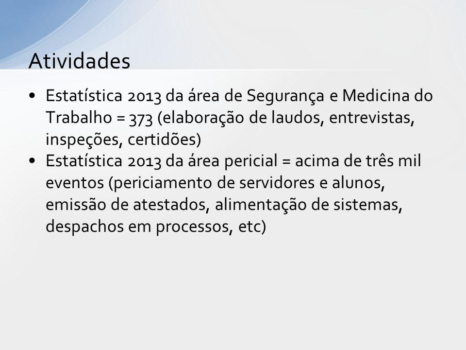 Atividades Estatística 2013 da área de Segurança e Medicina do Trabalho = 373 (elaboração de laudos, entrevistas, inspeções, certidões)