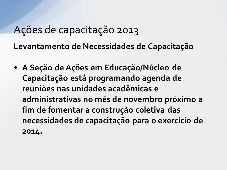 Ações de capacitação 2013 Levantamento de Necessidades de Capacitação