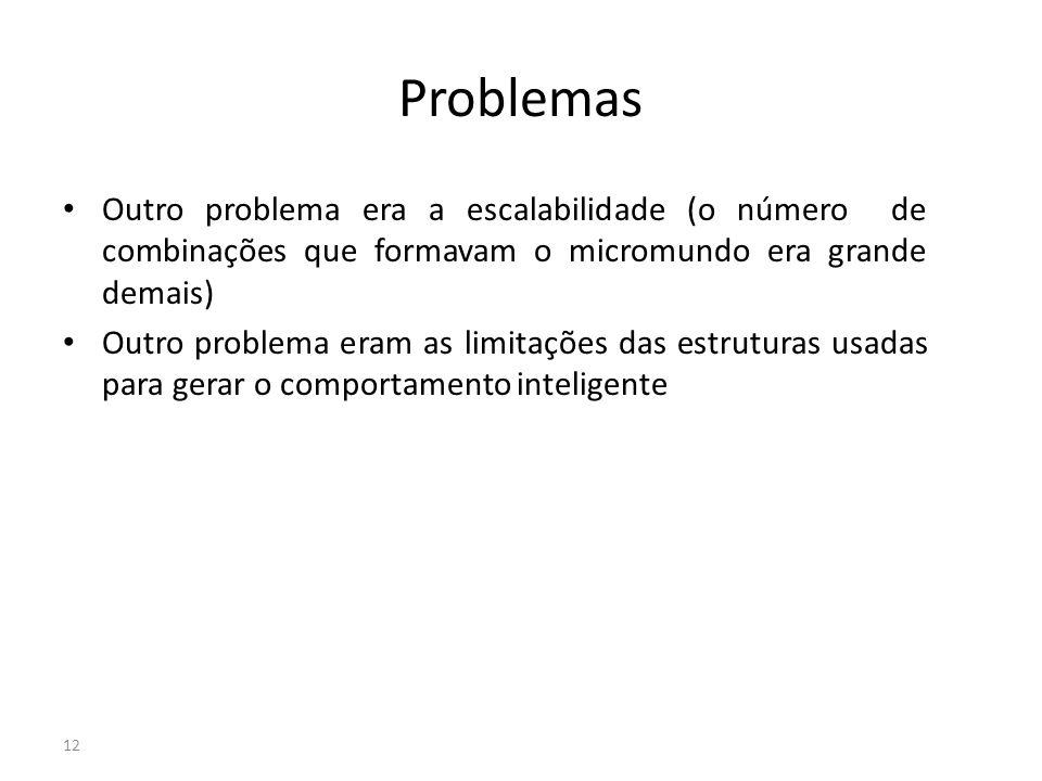 Problemas Outro problema era a escalabilidade (o número de combinações que formavam o micromundo era grande demais)