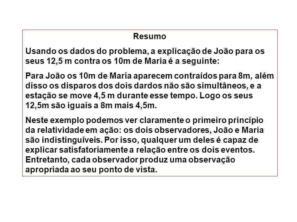 Resumo Usando os dados do problema, a explicação de João para os seus 12,5 m contra os 10m de Maria é a seguinte: