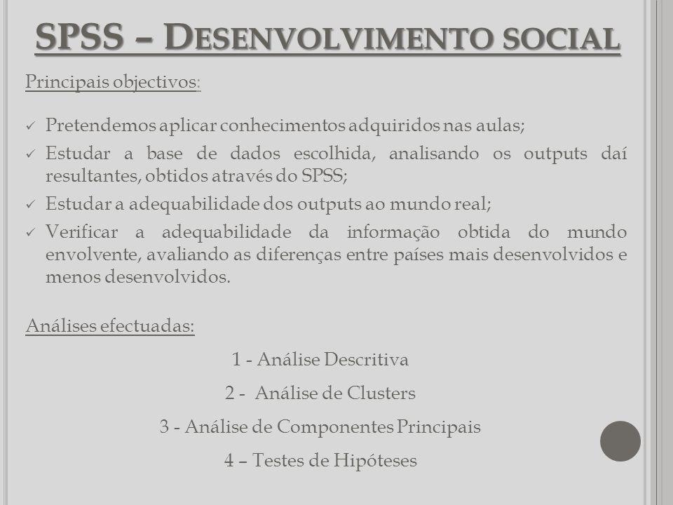 SPSS – Desenvolvimento social