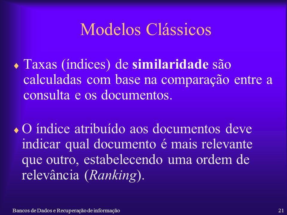 Modelos Clássicos Taxas (índices) de similaridade são calculadas com base na comparação entre a consulta e os documentos.