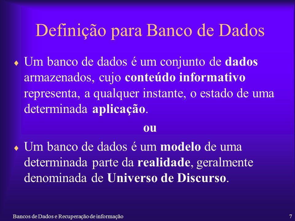 Definição para Banco de Dados