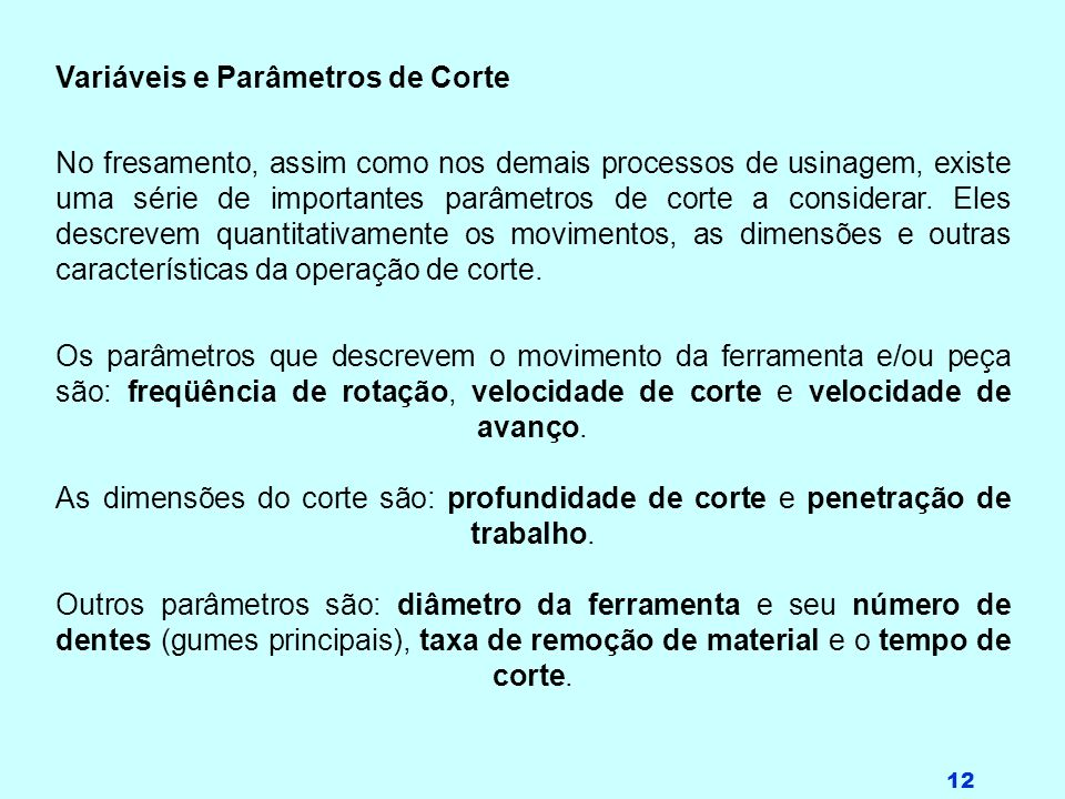 Variáveis e Parâmetros de Corte