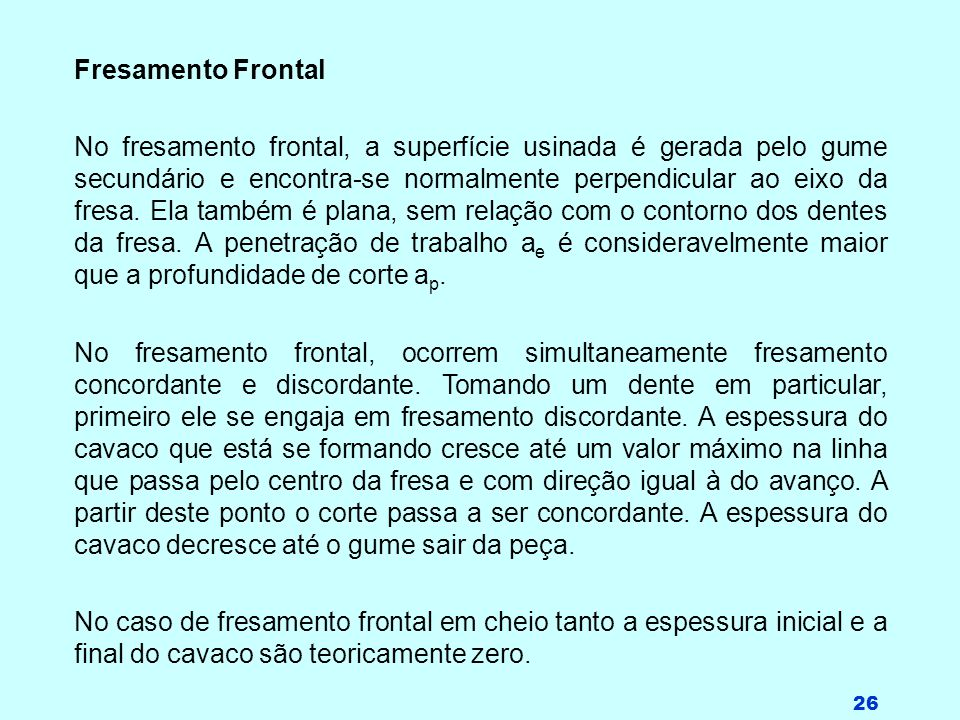 Fresamento Frontal