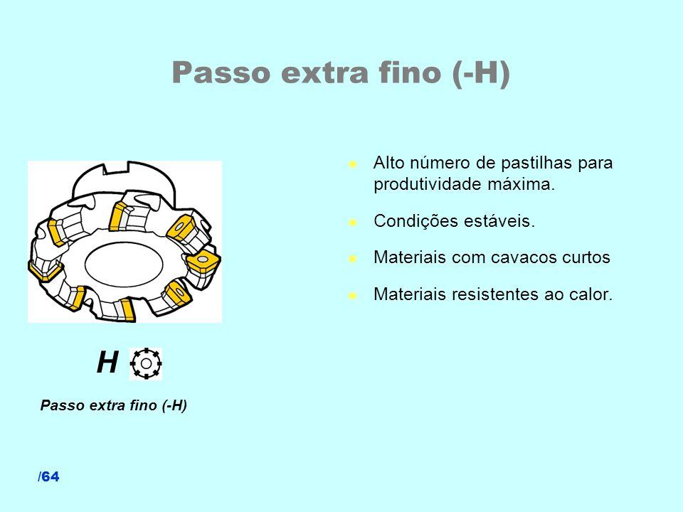 Passo extra fino (-H) Alto número de pastilhas para produtividade máxima. Condições estáveis. Materiais com cavacos curtos.