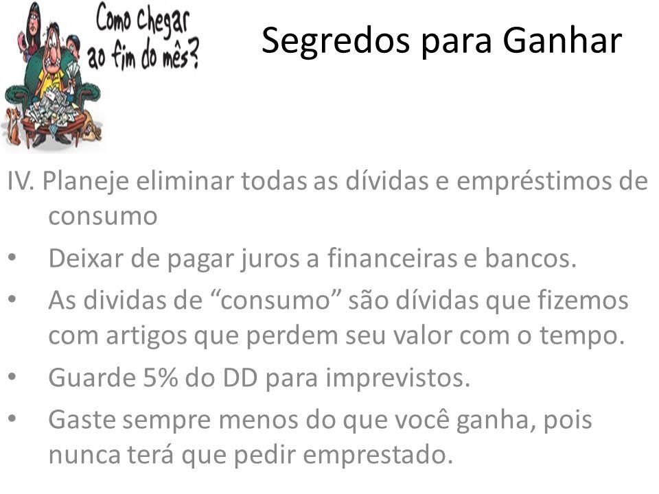 Segredos para Ganhar IV. Planeje eliminar todas as dívidas e empréstimos de consumo. Deixar de pagar juros a financeiras e bancos.