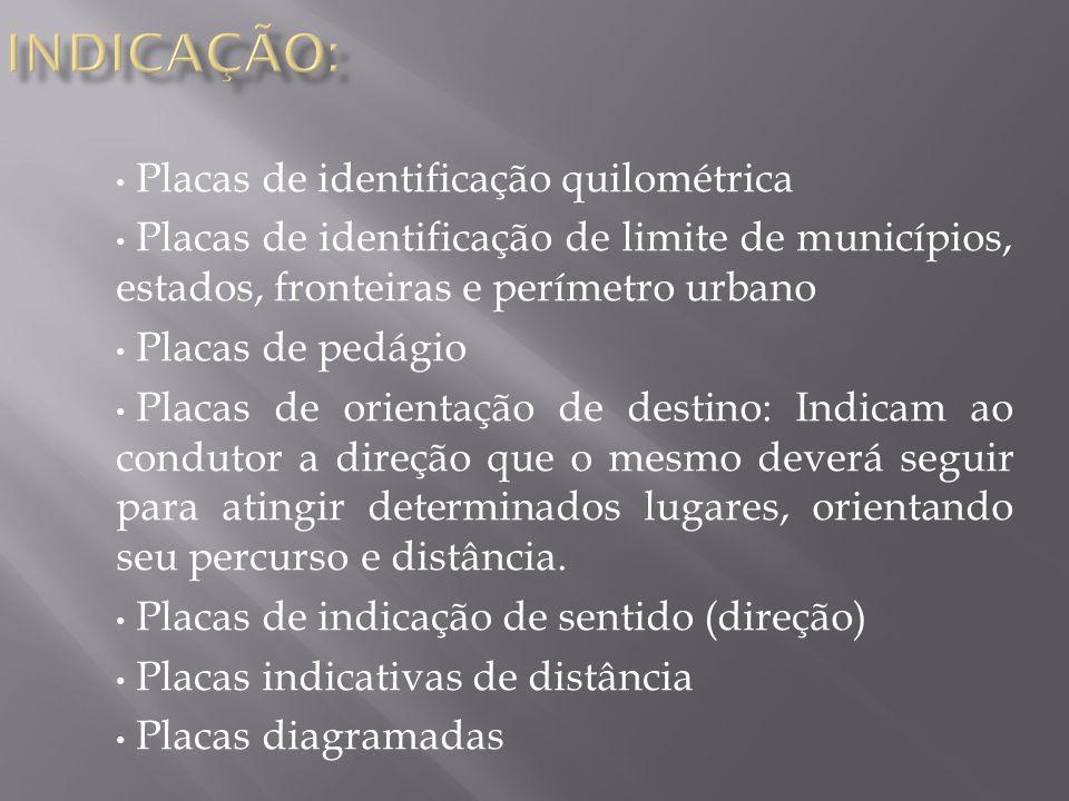INDICAÇÃO: Placas de identificação quilométrica
