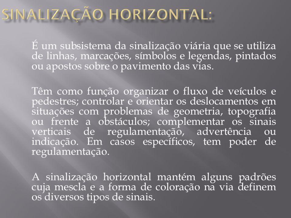 SINALIZAÇÃO HORIZONTAL:
