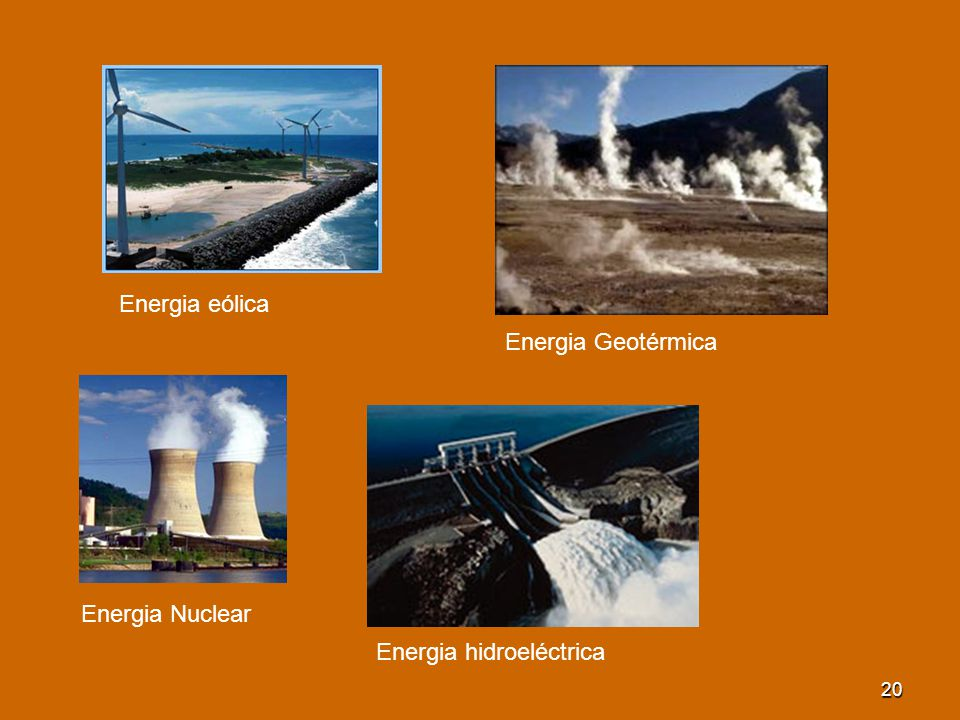 Energia eólica Energia Geotérmica Energia Nuclear Energia hidroeléctrica
