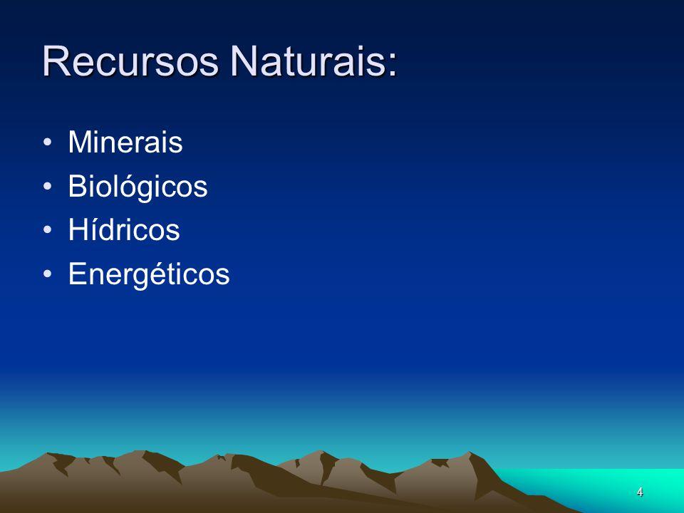 Recursos Naturais: Minerais Biológicos Hídricos Energéticos