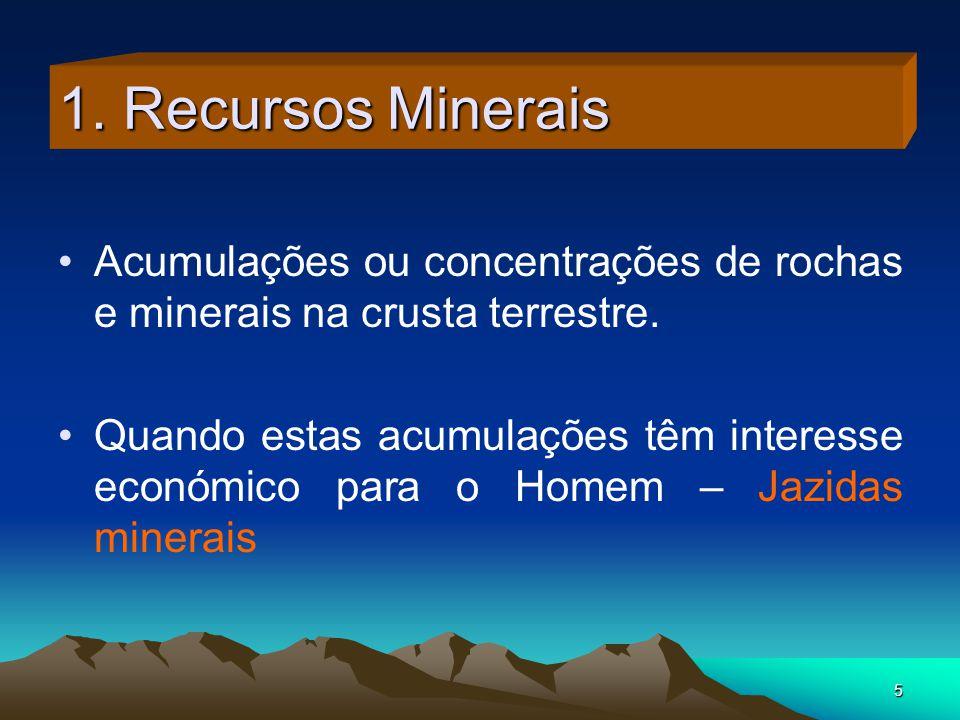 1. Recursos Minerais Acumulações ou concentrações de rochas e minerais na crusta terrestre.
