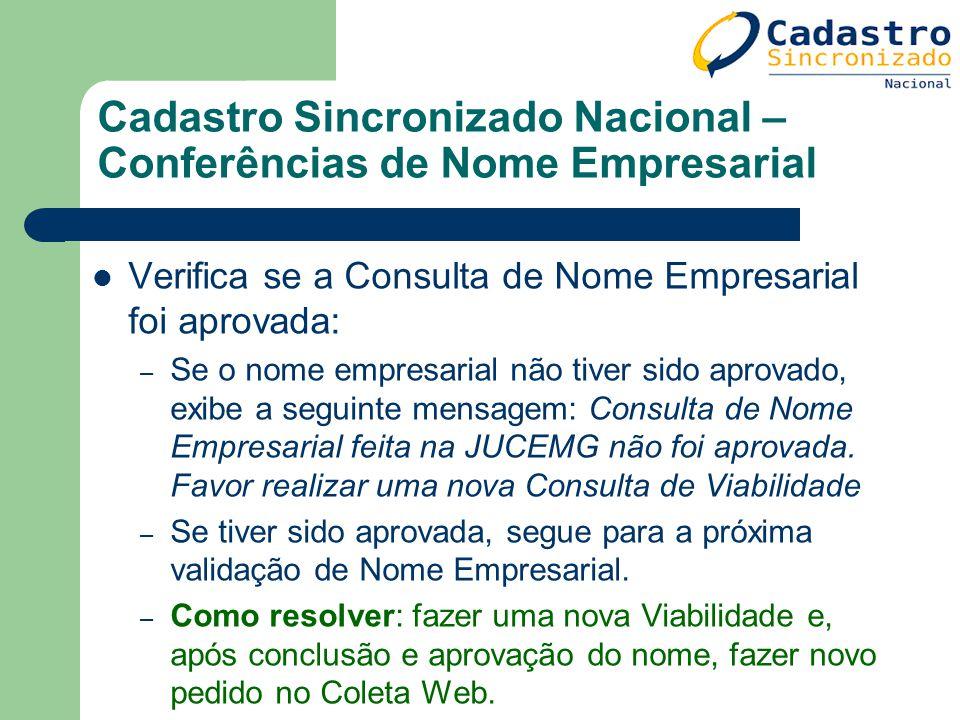 Cadastro Sincronizado Nacional – Conferências de Nome Empresarial