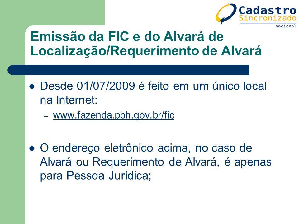 Emissão da FIC e do Alvará de Localização/Requerimento de Alvará