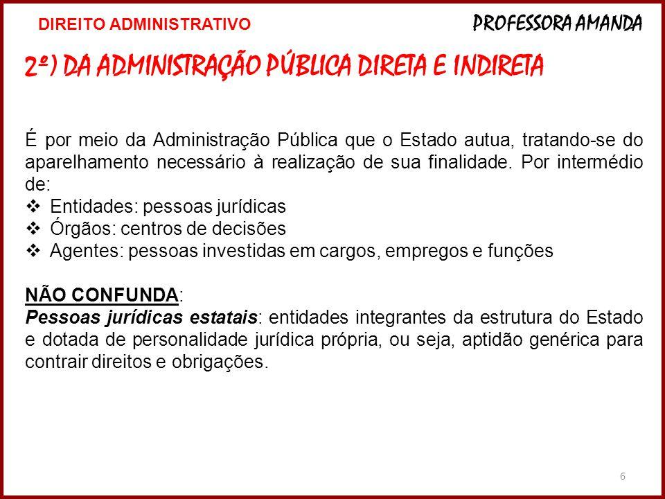 2º) DA ADMINISTRAÇÃO PÚBLICA DIRETA E INDIRETA