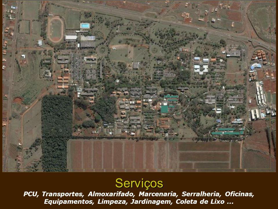 Serviços PCU, Transportes, Almoxarifado, Marcenaria, Serralheria, Oficinas, Equipamentos, Limpeza, Jardinagem, Coleta de Lixo ...