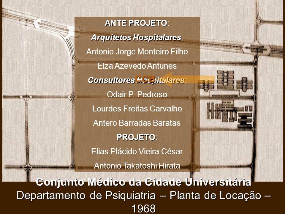 ANTE PROJETO: Arquitetos Hospitalares: Antonio Jorge Monteiro Filho. Elza Azevedo Antunes. Consultores Hospitalares:
