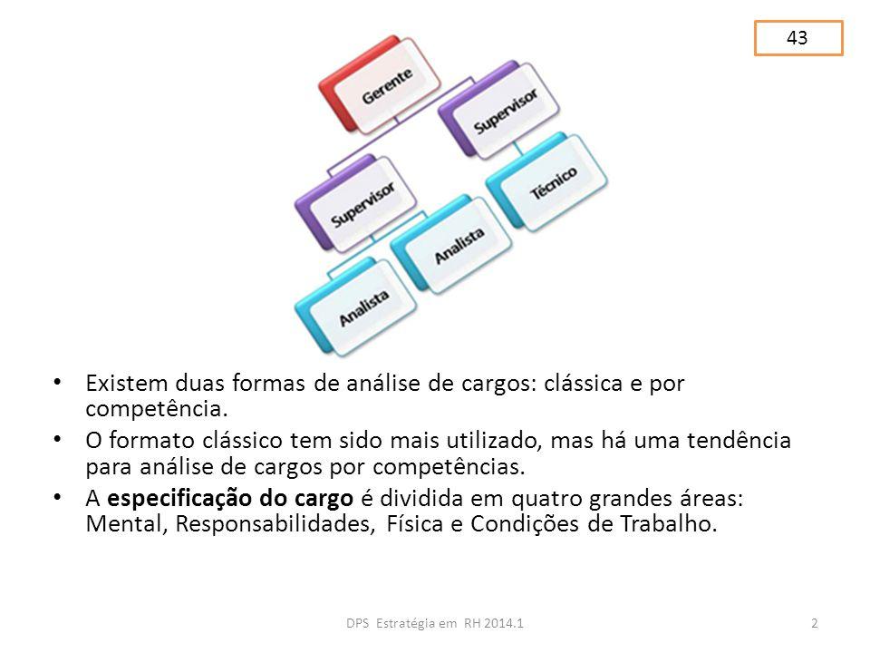 Existem duas formas de análise de cargos: clássica e por competência.
