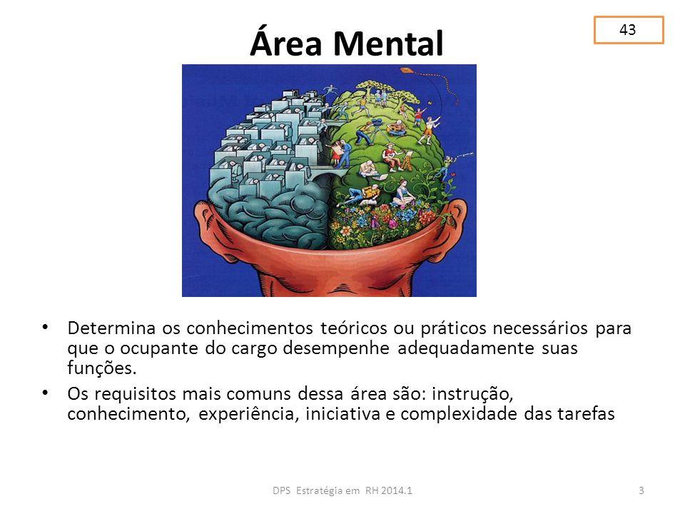 43 Área Mental. Determina os conhecimentos teóricos ou práticos necessários para que o ocupante do cargo desempenhe adequadamente suas funções.