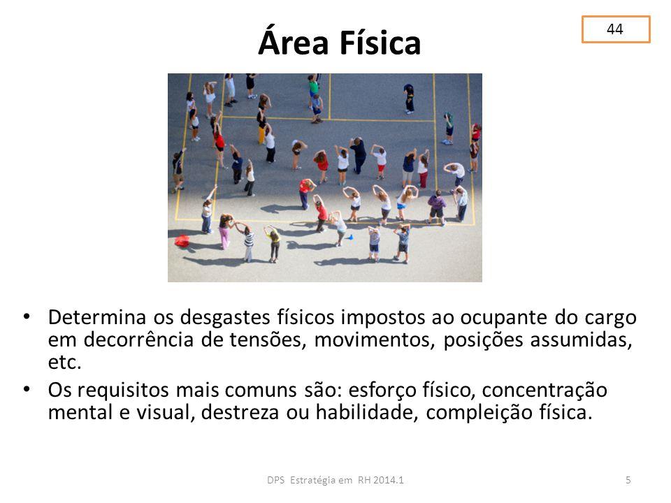 44 Área Física. Determina os desgastes físicos impostos ao ocupante do cargo em decorrência de tensões, movimentos, posições assumidas, etc.