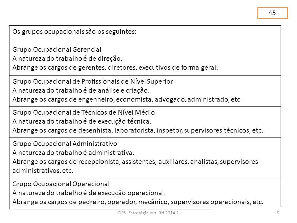 Os grupos ocupacionais são os seguintes: Grupo Ocupacional Gerencial