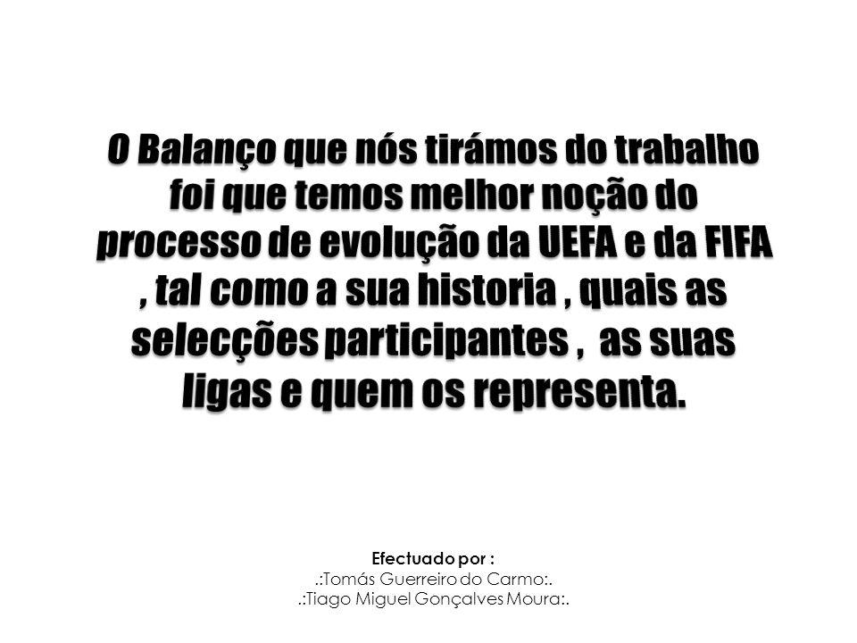 O Balanço que nós tirámos do trabalho foi que temos melhor noção do processo de evolução da UEFA e da FIFA , tal como a sua historia , quais as selecções participantes , as suas ligas e quem os representa.