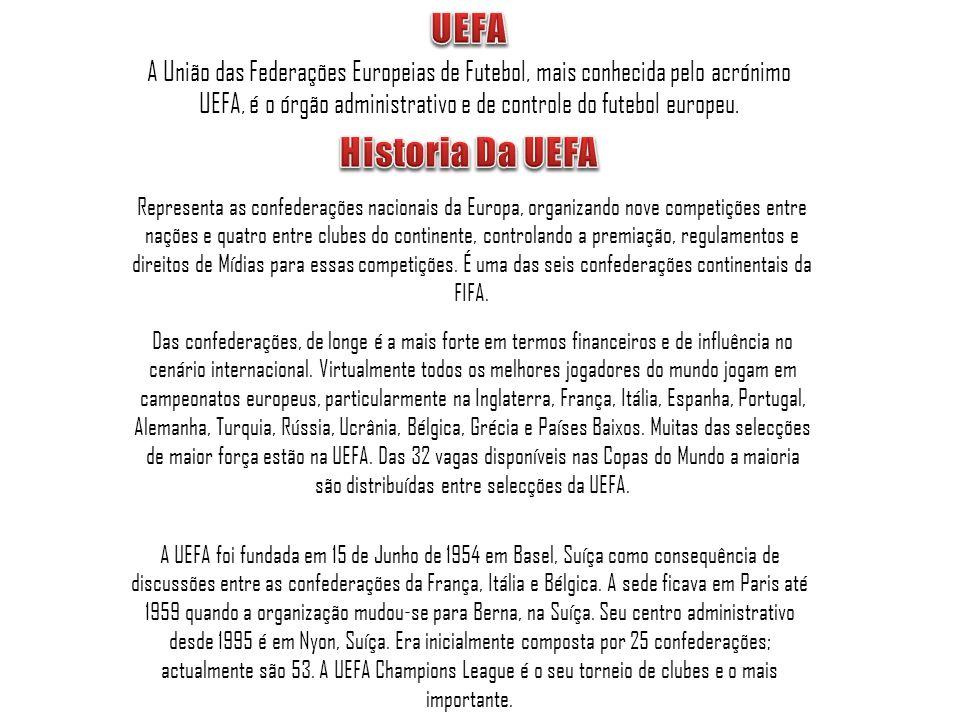 UEFA A União das Federações Europeias de Futebol, mais conhecida pelo acrónimo UEFA, é o órgão administrativo e de controle do futebol europeu.