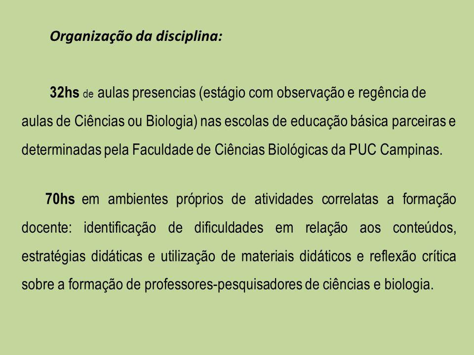 Organização da disciplina: