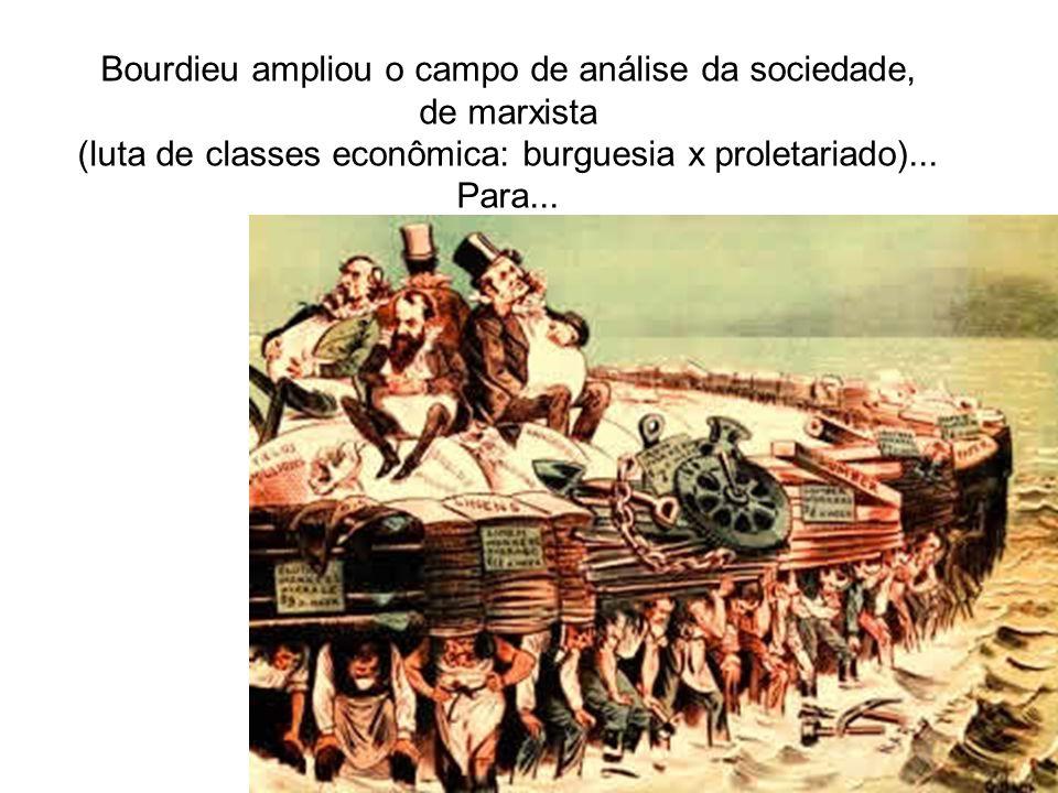 Bourdieu ampliou o campo de análise da sociedade, de marxista