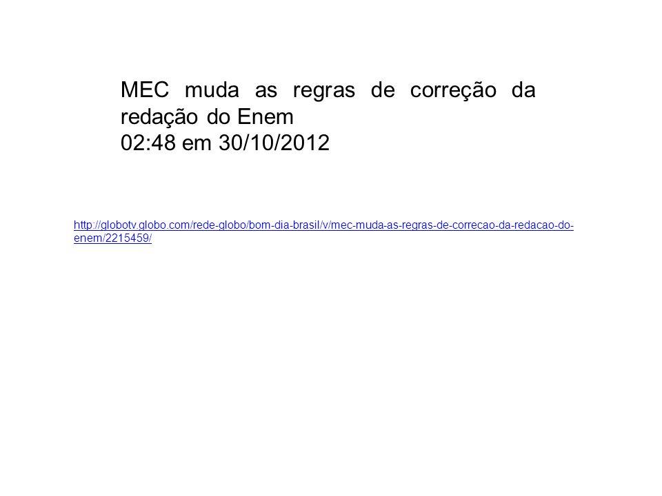 MEC muda as regras de correção da redação do Enem 02:48 em 30/10/2012