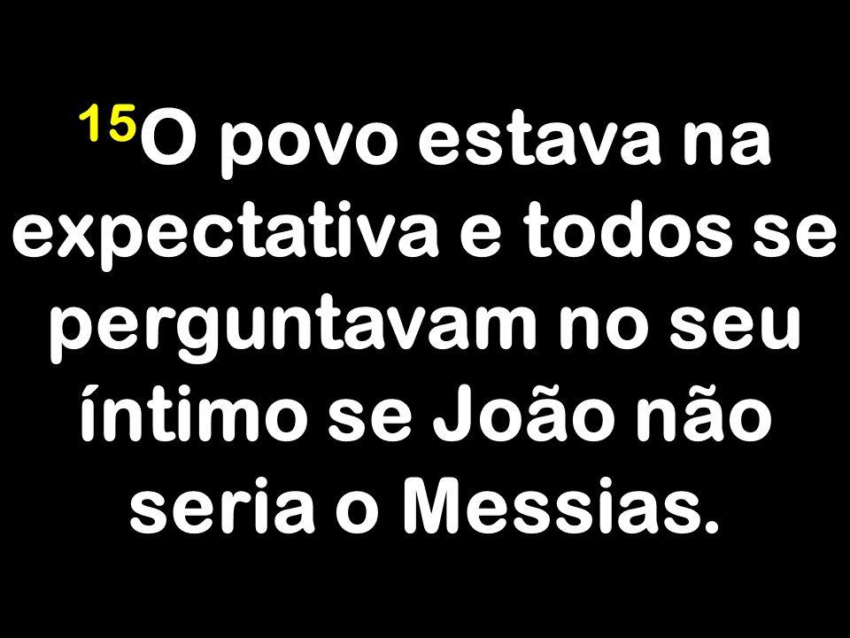 15O povo estava na expectativa e todos se perguntavam no seu íntimo se João não seria o Messias.